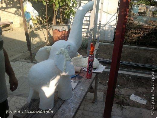 Мастер-класс Вырезание Моделирование конструирование Слоник для сада из монтажной пены фото 8