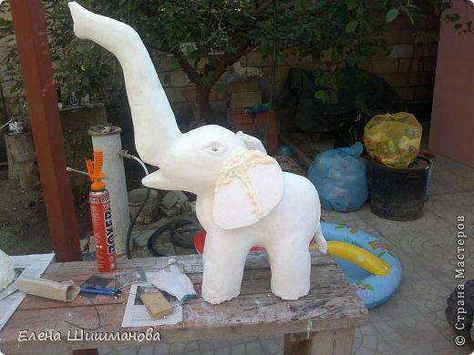 Мастер-класс Вырезание Моделирование конструирование Слоник для сада из монтажной пены фото 9