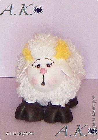 Малышка и её подружка овечка сделаны по одному принципу голова, руки, ноги (копыта) из Фома и пенопластовых шариков, а вот туловище сделано из проволоки и из нитяных-помпонов (нити акрил). фото 5