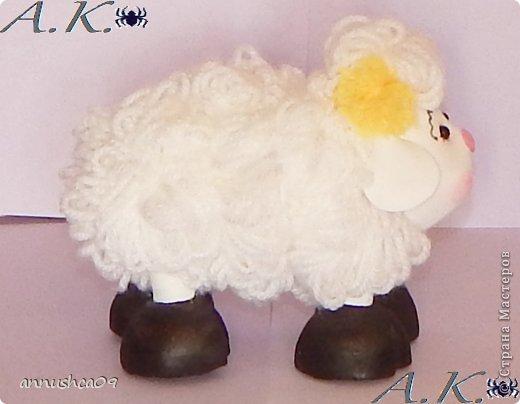 Малышка и её подружка овечка сделаны по одному принципу голова, руки, ноги (копыта) из Фома и пенопластовых шариков, а вот туловище сделано из проволоки и из нитяных-помпонов (нити акрил). фото 6