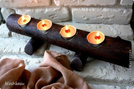 Декоративный подсвечник из деревянного спила фото 1