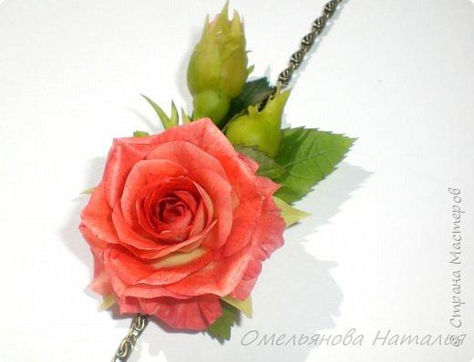 Браслетик с розой, можно переделать в подвеску фото 1