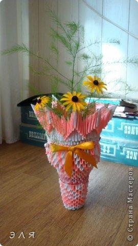 Напольная ваза в технике мод. оригами,собирала без схем,по вдохновению...  фото 3