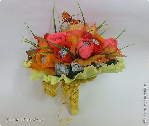 Такой букет смастерила для учителя своей дочери на 1 сентября..надоели банальные букеты из цветов.. а так вроде и оригинально и вкусно.. фото 1