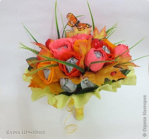 Такой букет смастерила для учителя своей дочери на 1 сентября..надоели банальные букеты из цветов.. а так вроде и оригинально и вкусно.. фото 6