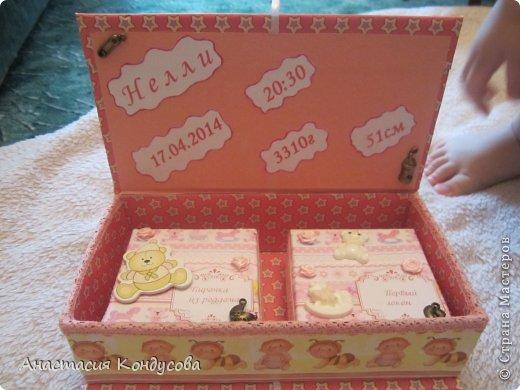 Моя первая работа в технике скрапбукинг. Подарок для подруги на рождение доченьки! фото 3