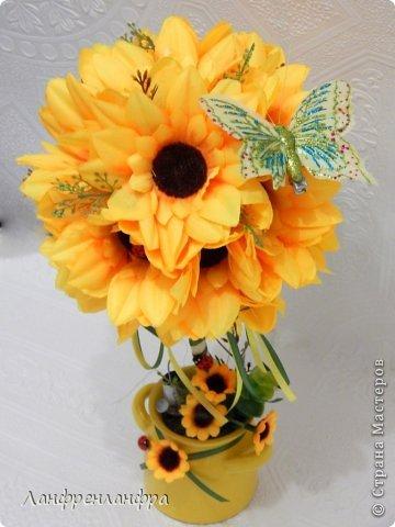 Яркий топиарий с готовыми розами из фоама и брошами, высота 25см.  фото 5