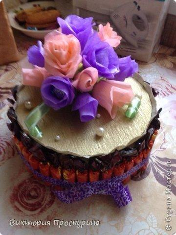 Здравствуй любимая Страна!5 сентября у моей любимой свекрови был день рожденья.Просмотрев огромное количесво мк,решилась на этот торт.Девочки-мастерицы,огромное спасибо всем,кто выложил ваши работы и секреты,без вас я бы не справилась!!!Низкий поклон Вам!!!Пыхтела я над ним 2 дня,но главное,что мамочке понравился и она была рада!Не судите сильно строго,тк делала в первый раз(надеюсь не в последний)!Принимайте работу) фото 2