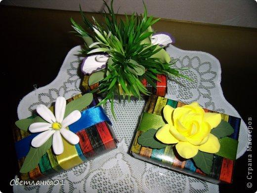 Задекорированные коробочки, можно использовать  дополнением к подарки на торжество. фото 1