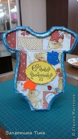 Здравствуйте жители СМ!  Сделала для племянника на годик вот такую открыточку в форме боди.  фото 1