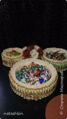 Здравствуйте, жители СМ!   Завтра у папы День Рождения, а он у меня великий сладкоежка. Вот и придумался у меня сладкий подарок. Давно хотела попробовать сделать торт из конфет, да все повода не было. А тут сам бог велел. Вот он мой дебютный тортик. Конфеты не только снаружи, но и внутри. В целом пошло около 4 кг. конфет. Пришлось дважды в магазин бегать, как за водкой))). Зато результат порадовал.  фото 2