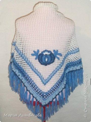 Очень люблю все оттенки синего) Эту шаль придумала сама в подарок для мамы. фото 2