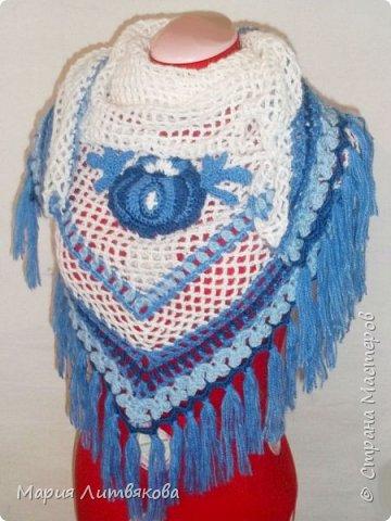 Очень люблю все оттенки синего) Эту шаль придумала сама в подарок для мамы. фото 1
