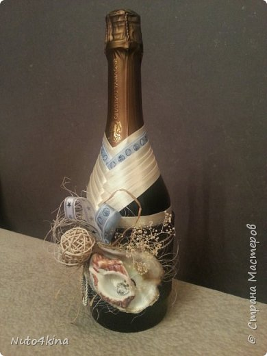 оформила бутылочку на юбилей подруге в морском стиле,  т.к. в ближайшее время у нее намечается путешествие на средиземное море)) так сказать, на дорожку :-) фото 2