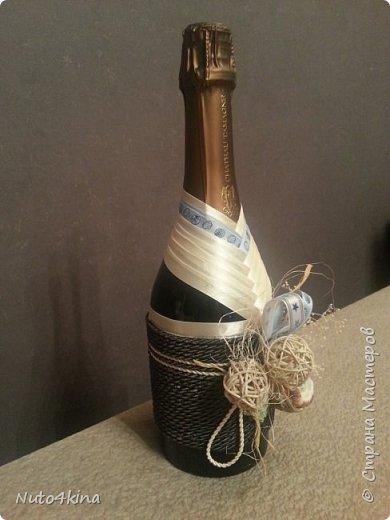 оформила бутылочку на юбилей подруге в морском стиле,  т.к. в ближайшее время у нее намечается путешествие на средиземное море)) так сказать, на дорожку :-) фото 3