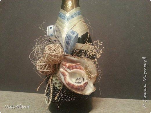 оформила бутылочку на юбилей подруге в морском стиле,  т.к. в ближайшее время у нее намечается путешествие на средиземное море)) так сказать, на дорожку :-) фото 4