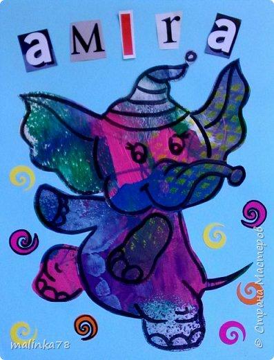 Вот такие обложки с именем ребенка (для тетрадей) я сделала используя их раскрашенные листочки. Обложки я сделала используя технику Eric Carl фото 4