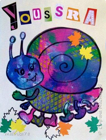 Вот такие обложки с именем ребенка (для тетрадей) я сделала используя их раскрашенные листочки. Обложки я сделала используя технику Eric Carl фото 1