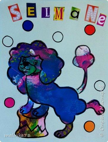 Вот такие обложки с именем ребенка (для тетрадей) я сделала используя их раскрашенные листочки. Обложки я сделала используя технику Eric Carl фото 2