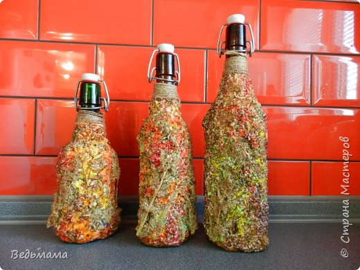 вот такие бутылочки сделала для вина из крыжовника! Спасбо мастерклассу https://stranamasterov.ru/node/446767?c=favorite фото 2