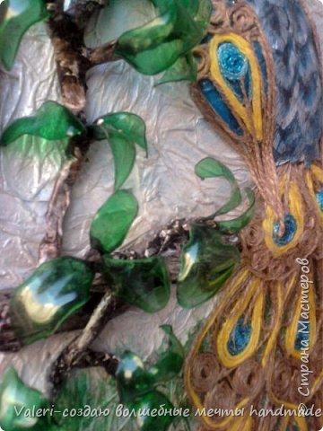 Картина панно рисунок Аппликация Ассамбляж Моделирование конструирование Шитьё Павлин-джутовая филигрань и   Бумага Бутылки пластиковые Клей Краска Материал бросовый Проволока Ткань Шпагат фото 5