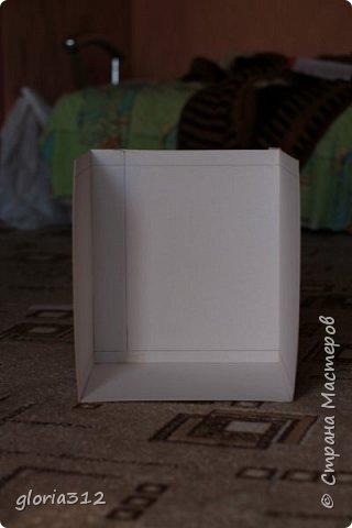 """Румбокс (roombox: room-комната, box- коробка).   Материалы: -Макетный картон -Скрап-бумага -Белый акрил -Лак-олифа для дерева, """"красное дерево"""" -Ткань (полупрозрачный шифон) -Шпажка для барбекю -Клей ПВА -Скотч широкий -Канцелярский ножик -Ножницы фото 2"""