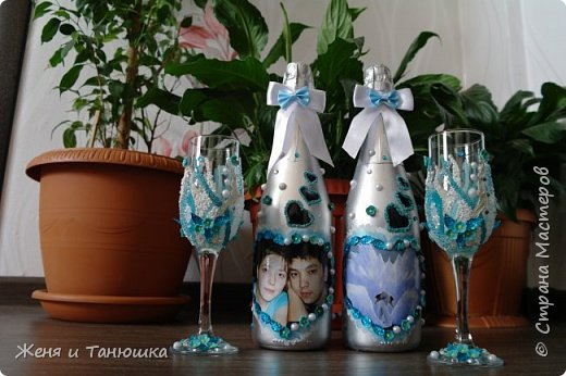 Бутылочки, бокальчики свадебные. фото 1