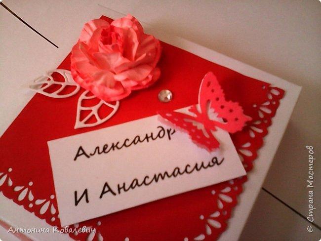 Вот такая вот коробочка. Любимый цвет невесты красный, поэтому и сама коробочка красная. Думала сегодня уже не выложу, но успела. Это моя первая шкатулочка) Фото очень много!!! фото 4