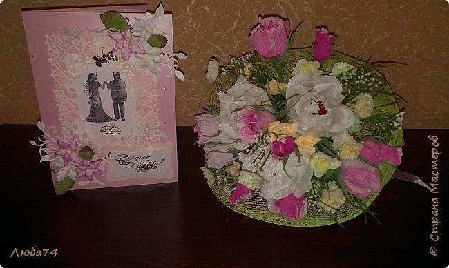 Добрый вечер! Вот такой подарок у меня получился к дню бракосочетания. брату моего мужа. Свадебная открытка и букет сладких роз. Немного  увлекаюсь и свит-дизайном. фото 9