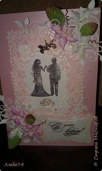 Добрый вечер! Вот такой подарок у меня получился к дню бракосочетания. брату моего мужа. Свадебная открытка и букет сладких роз. Немного  увлекаюсь и свит-дизайном. фото 2