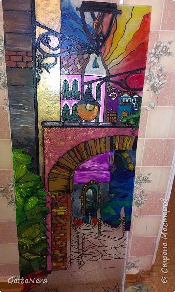 Витражная роспись стеклянной двери фото 1