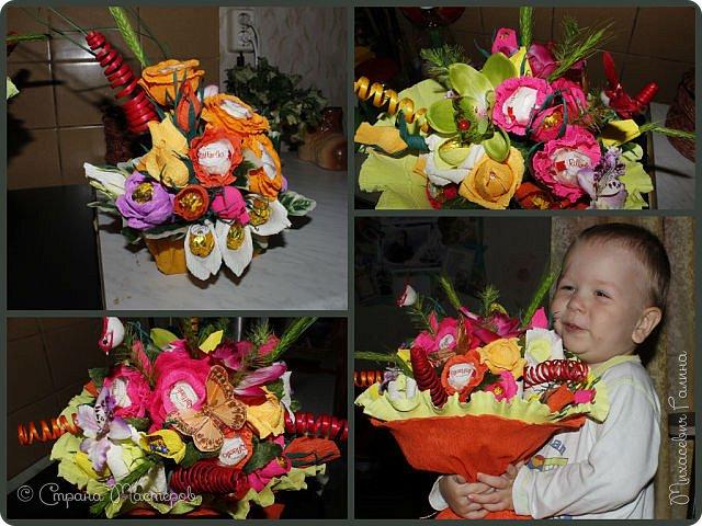 Сегодня у меня две работы! букет для сына на первое сентября,а композиция для очень хорошего человечка у которого я покупаю свои любимые цветы и добавки для моих творений фото 1