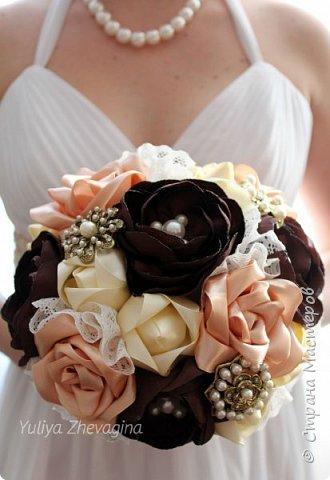 Букет в кремово - шоколадном цвете.  Выполнен на заказ. фото 1