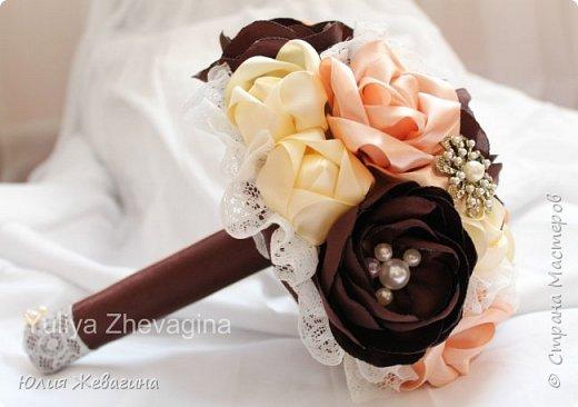 Букет в кремово - шоколадном цвете.  Выполнен на заказ. фото 2
