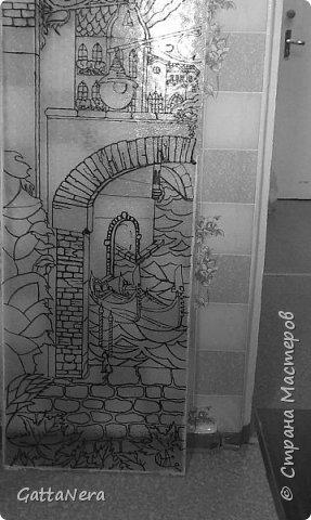Витражная роспись стеклянной двери фото 2