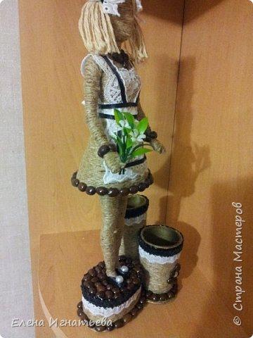 Куклы Поделка изделие День учителя Моделирование конструирование Карандашница - подарок на день учителя  Кофе Кружево Шпагат фото 2