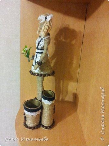 Куклы Поделка изделие День учителя Моделирование конструирование Карандашница - подарок на день учителя  Кофе Кружево Шпагат фото 4