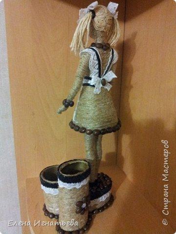 Куклы Поделка изделие День учителя Моделирование конструирование Карандашница - подарок на день учителя  Кофе Кружево Шпагат фото 5