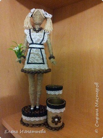 Куклы Поделка изделие День учителя Моделирование конструирование Карандашница - подарок на день учителя  Кофе Кружево Шпагат фото 9