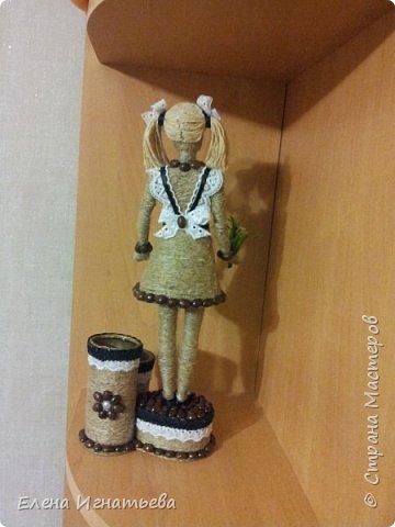 Куклы Поделка изделие День учителя Моделирование конструирование Карандашница - подарок на день учителя  Кофе Кружево Шпагат фото 10