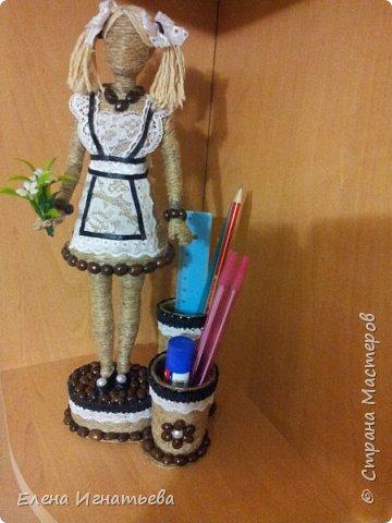 Куклы Поделка изделие День учителя Моделирование конструирование Карандашница - подарок на день учителя  Кофе Кружево Шпагат фото 11