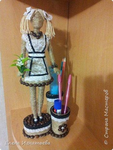 Куклы Поделка изделие День учителя Моделирование конструирование Карандашница - подарок на день учителя  Кофе Кружево Шпагат фото 16