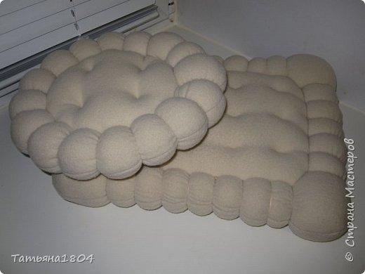 Давно в моей голове зрела мысль об этих подушечках. И вот результат. Подушечки получились очень мягкие и приятные на ощупь. Ткань - флис, внутри поролон, простеганы подушечки толстой плотной нитью в тон ткани. фото 3