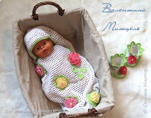 Недавно закончила кокон для новорожденного с пинетками. Все нет времени выставить фотографии. Но вот и получилось... Показываю! фото 1