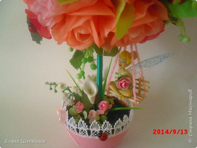 Вот такой домик на деревце для феечки я сделала в подарок для девочки. Внутри домика положила розовые конфетки. фото 3