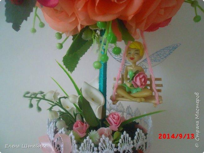 Вот такой домик на деревце для феечки я сделала в подарок для девочки. Внутри домика положила розовые конфетки. фото 4