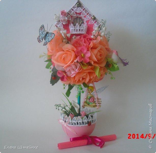 Вот такой домик на деревце для феечки я сделала в подарок для девочки. Внутри домика положила розовые конфетки. фото 1