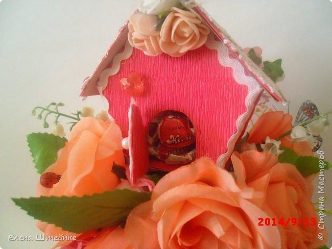 Вот такой домик на деревце для феечки я сделала в подарок для девочки. Внутри домика положила розовые конфетки. фото 15