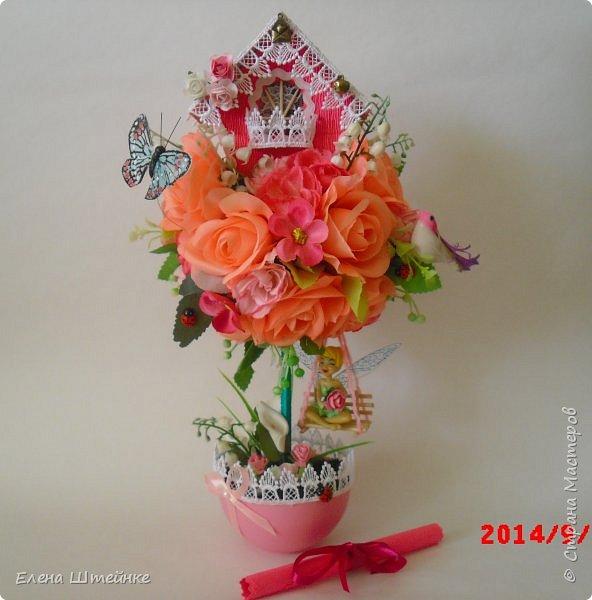 Вот такой домик на деревце для феечки я сделала в подарок для девочки. Внутри домика положила розовые конфетки. фото 17