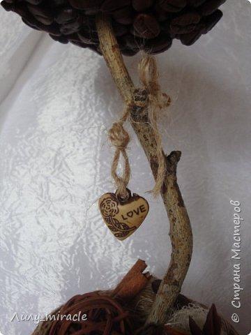 Кофеюшки, которые готовились на выставку. Классическое кофейное дерево, стволик - палочка корицы, декор горшочка - шпагат, кружево, тесьма, бадьян. фото 7